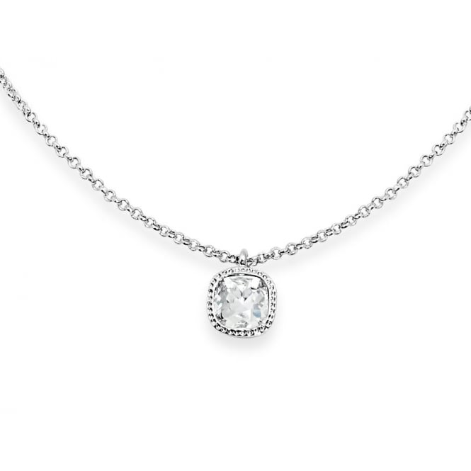 Crystal Glass Stone with Crystal Surround Imitation Rhodium Plated 15'' Long Necklace