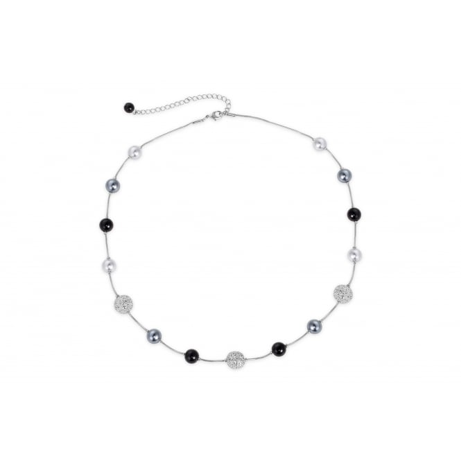 Glass Pearl and Crystal Imitation Rhodium Plated 17'' Long Necklace