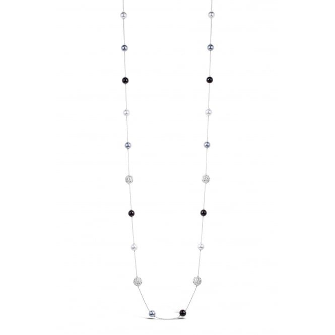 Lovely 35'' Long Glass Pearl and Crystal Imitation Rhodium Necklace