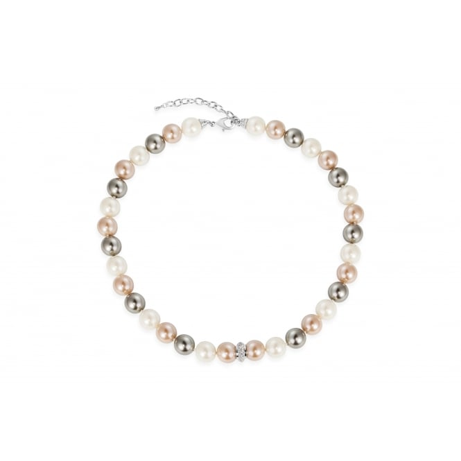 Imitation Rhodium Necklace with Cream, Light Peach and Grey Glass Pearls and Crystal Stones.