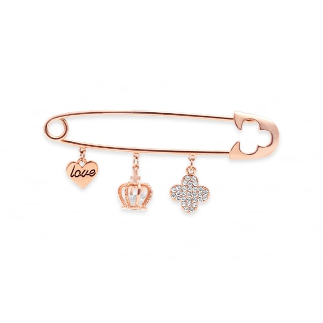 Pin Heart Crown, Clover Charms, Rose Gold Plated with Cubic Zirconia Brooch