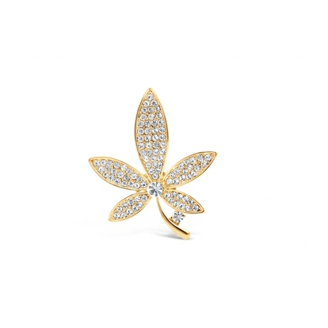 Flower Shaped Czech Crystal Stone Gold Plated Brooch.