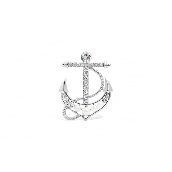 "Imitation Rhodium ""Ship's Anchor"" Brooch with Crystal Stones."