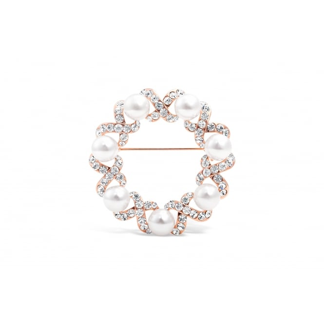 Circular Crystal Kisses and Faux Pearl Rose Gold Plated Brooch
