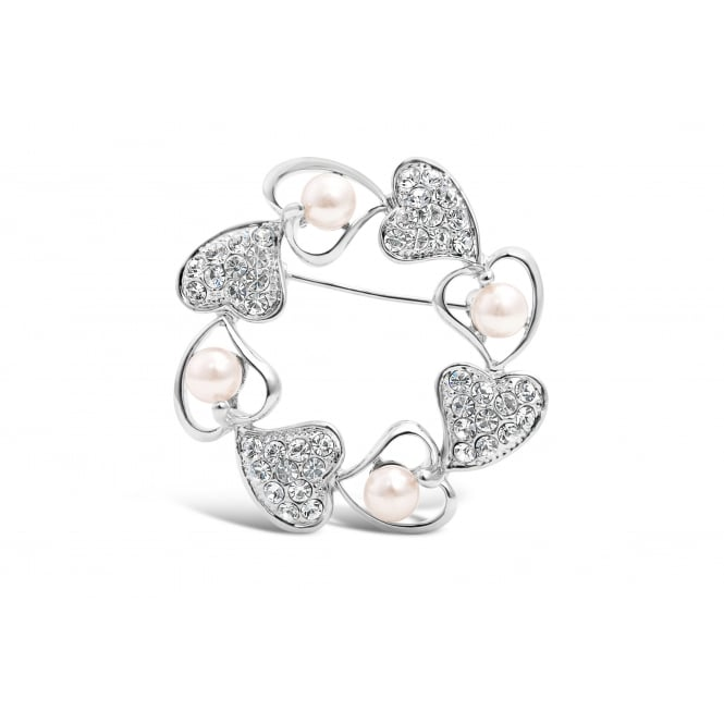 Light Peach Faux Pearl and Heart Feature Imitation Rhodium Brooch with Crystal Stones
