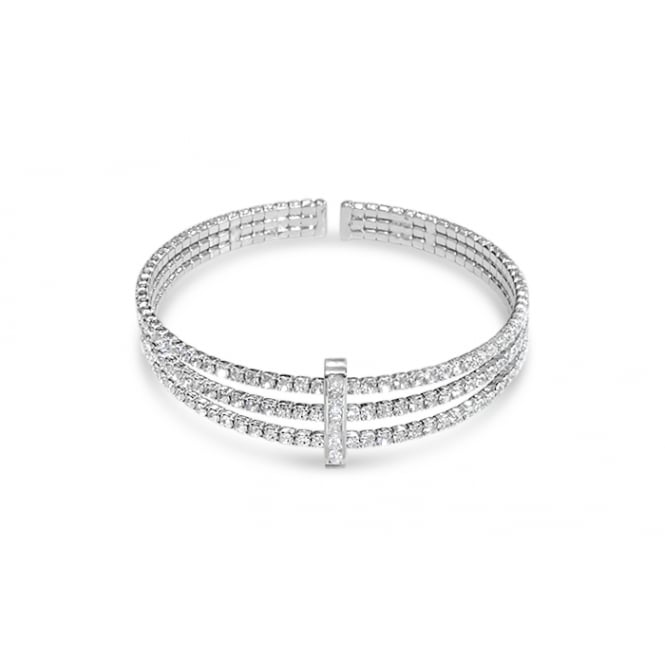 SALE PACK OF 2 Rhodium plated expandable glass crystal Bracelet .