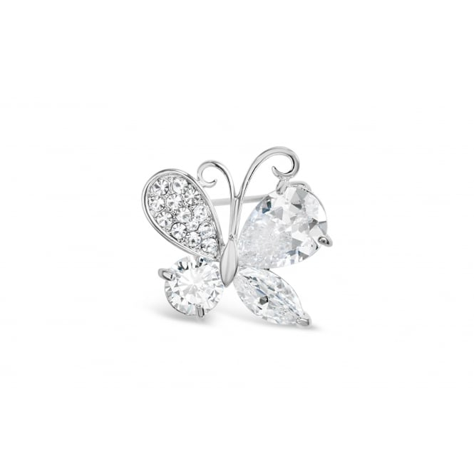 Beautiful Butterfly Imitation Rhodium Brooch with Crystal & Cubic Zirconia Stones.