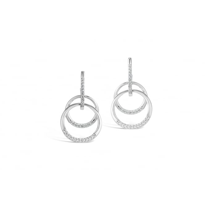 Double Loop Rhodium Plated Earrings with Cubic Zirconia