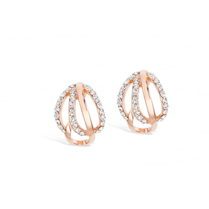 Rose Gold Plated Twist Stud Earrings