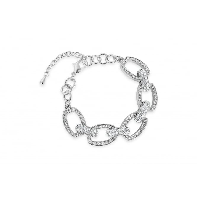 Beautiful Crystal Set Link Bracelet Imitation Rhodium Plated