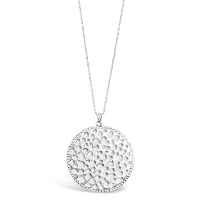 Imitation Rhodium Plated Necklace with Circular Pendant. Pouch.