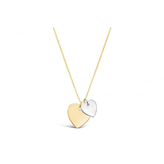 16'' Long Double Heart Gold Plated and Imitation Rhodium Plated Necklace
