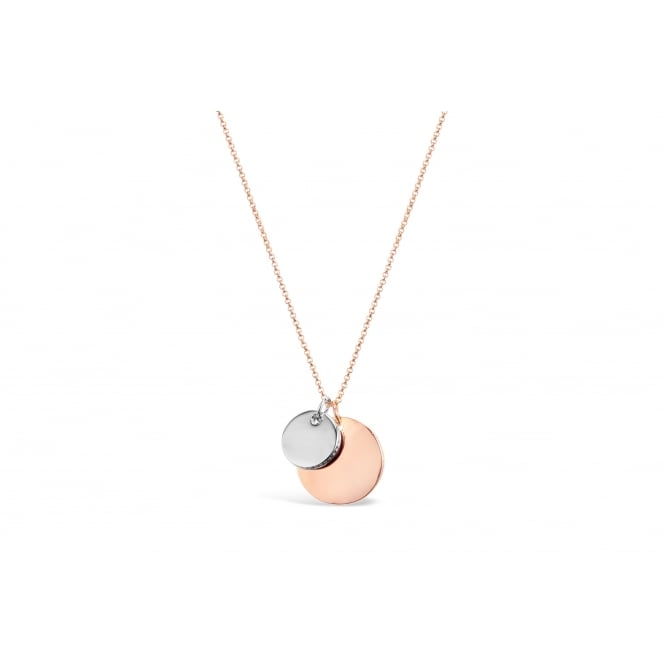 16'' Long Gold and Imitation Rhodium Plated Circular Disk Necklace