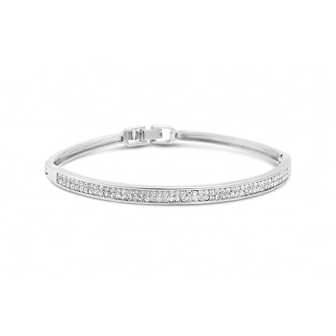 Solid Imitation Rhodium Plated Bracelet with Crystal Stones