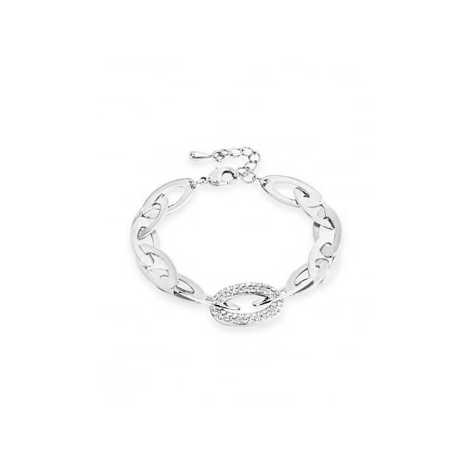 Unique Crystal Imitation Rhodium Oval Link Bracelets.
