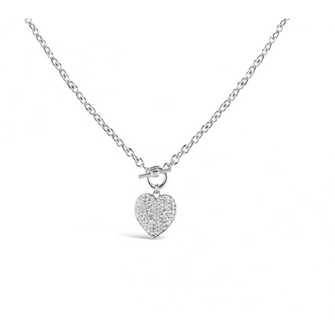 18'' Curb Imitation Rhodium Chain with T-Bar Clasp Crystal Encrusted Heart.