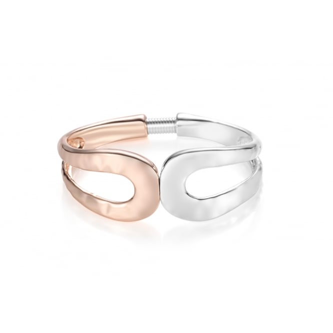 Two Tone Rose Gold and Rhodium Plated Swirl Bracelet.