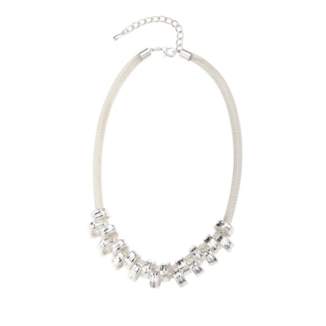 Rhodium Plated Chunky Ring Necklace.