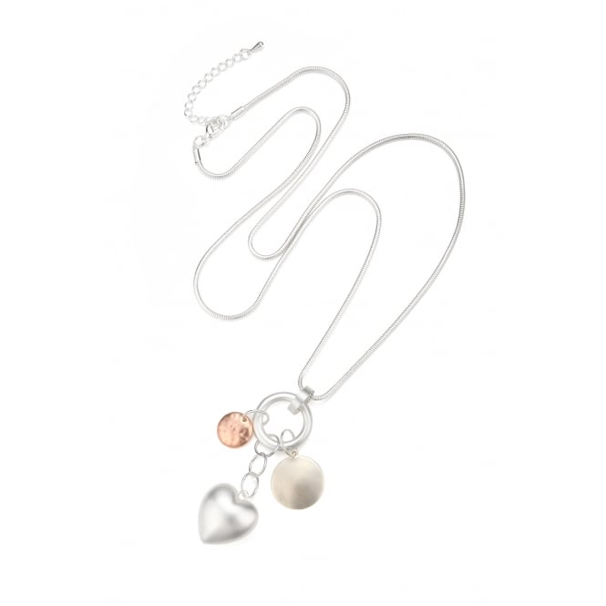 Three Tone Matt Gold, Rose Gold & Rhodium Long Necklace with hearts. Pouch.