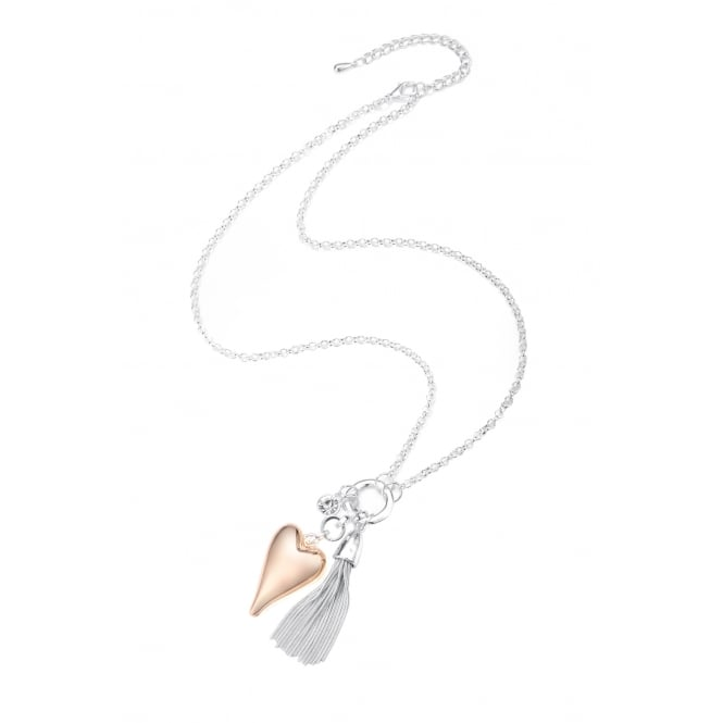 "SALE PACK OF 2 .Long 24"" Necklace with Rose Gold Matt Plated Heart and Tassle detailing. Pouch"