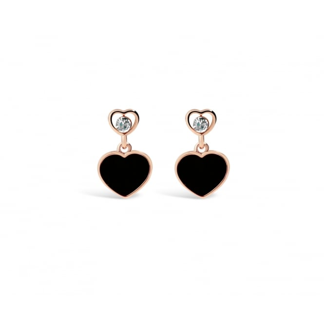 Rose Gold Plated Heart Earrings with Black Stones and Crystal Stones.