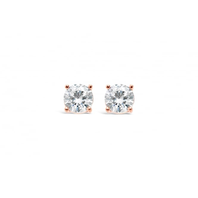 Rose Gold Plated Earrings with Cubic Zirconia Stones 6mm