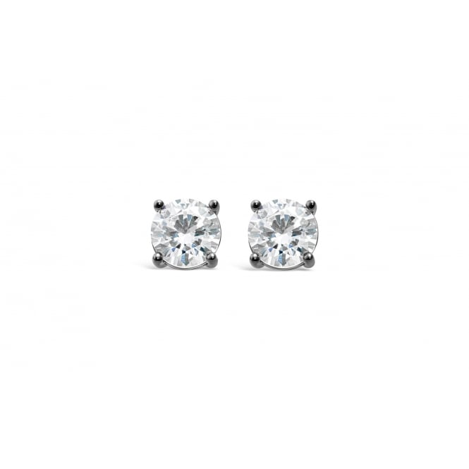 6mm Gun Metal Plated Earrings with Cubic Zirconia Stones