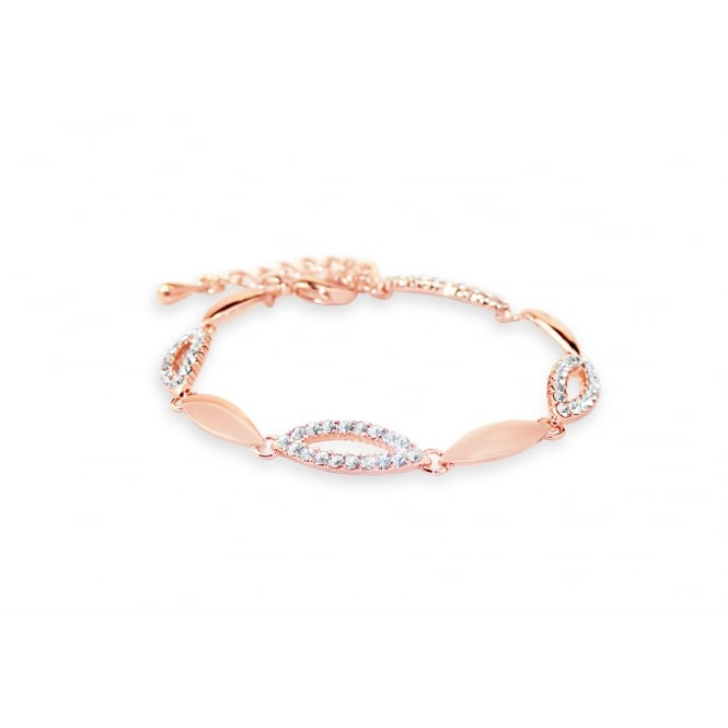 Rose Gold Plated Link Bracelet with Crystal Stones.