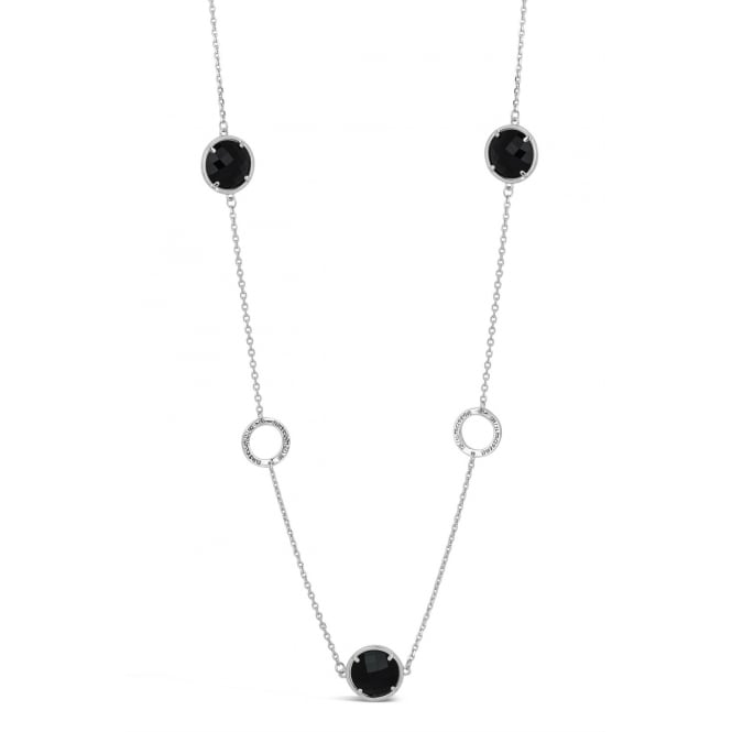 43'' Long Antique Black Glass Stone Imitation Rhodium Plated Necklace, Pouch