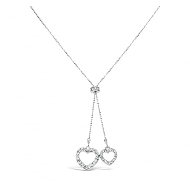 16'' Long Imitation Rhodium Plated Double Dangling Round Crystal Necklace.
