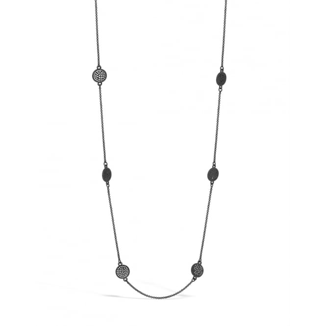"53"" Long Gun Metal Necklace with Circular Pendants. Pouch."