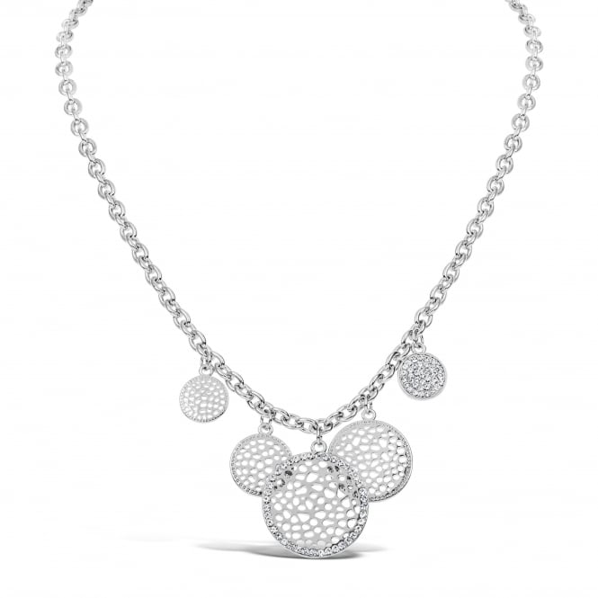 Beautiful Rhodium Plated Link 5 Pendant Chain Necklace with Crystal Stones.