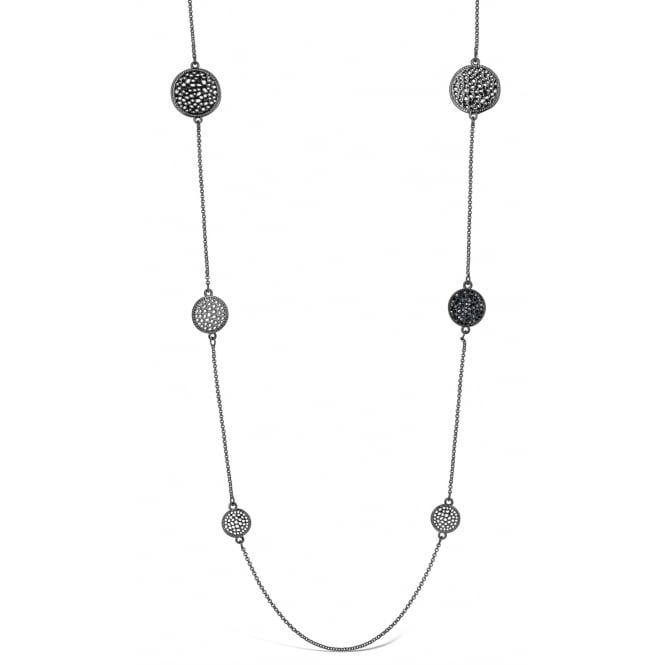 Long Gun Metal Plated Necklace with Pendant Circles and Crystal Stones. Pouch.