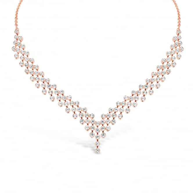 Stunning Occasion V Shaped Rose Gold Plated Necklace with Crystal Stones.