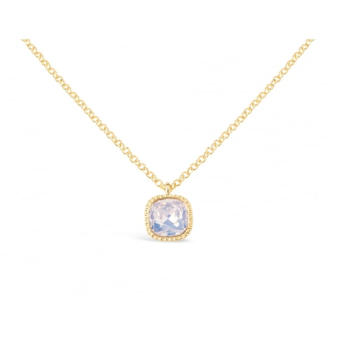 Beautiful Simple Gold Plated Necklace with Crystal Stone Pendant.