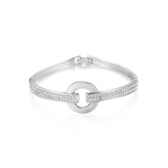 *Silver Plated Bracelet with Double Row Crystal Stones. Circular Centre Piece.