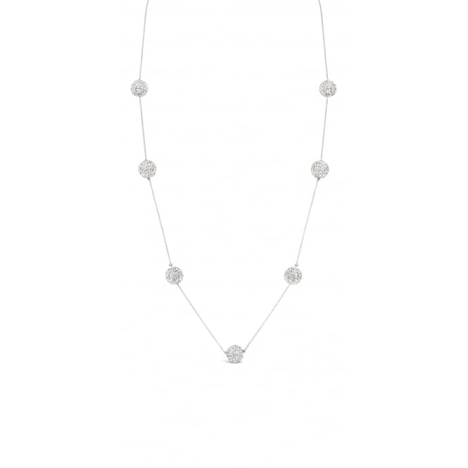 Imitation Rhodium Long Necklace with diamante balls. Pouch