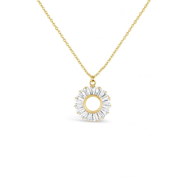 17'' Long Beautiful Gold Plated Pendant With Baguette Set Cubic Zirconia stones.