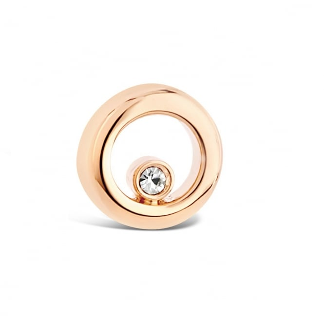 10mm Drop Matt Gold Plated Circular Stud Earring with Cubic Zirconia Stone.