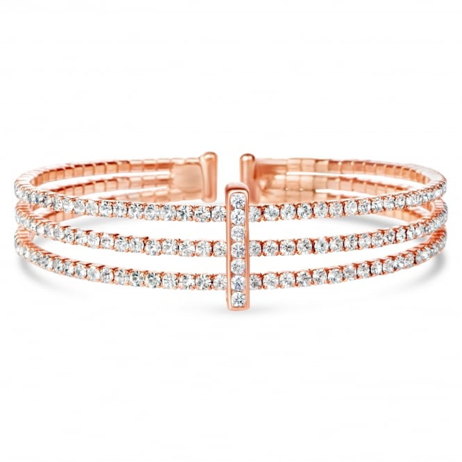 SALE PACK OF 2 Rose Gold plated expandable glass crystal Bracelet .