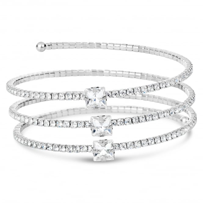 Multi layered coil style rhodium plated bracelet with crystal stones.