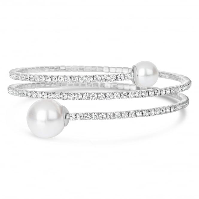 SALE PACK OF 2 .Rhodium plated expandable glass crystal Bracelet with pearl ball .