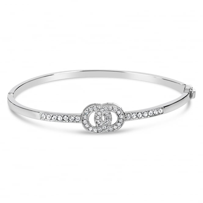 DOUBLE CIRCLE RHODIUM PLATED BANGLE WITH CRYSTAL STONES