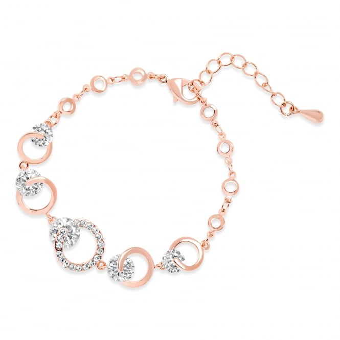 CIRCLE DESIGN ROSE GOLD PLATED LINK BRACELET WITH CRYSTAL STONES.