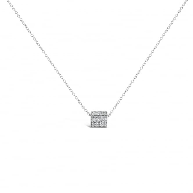 UNIQUE WHITE CUBIC ZIRCONIA SQUARE PENDANT WITH RHODIUM PLATING ON A 16 INCH CHAIN WITH 2 INCH EXTENDER