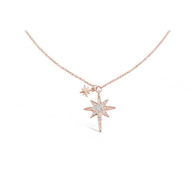 Lovely Star Rose Gold plated 17'' Long Crystal Set Necklace