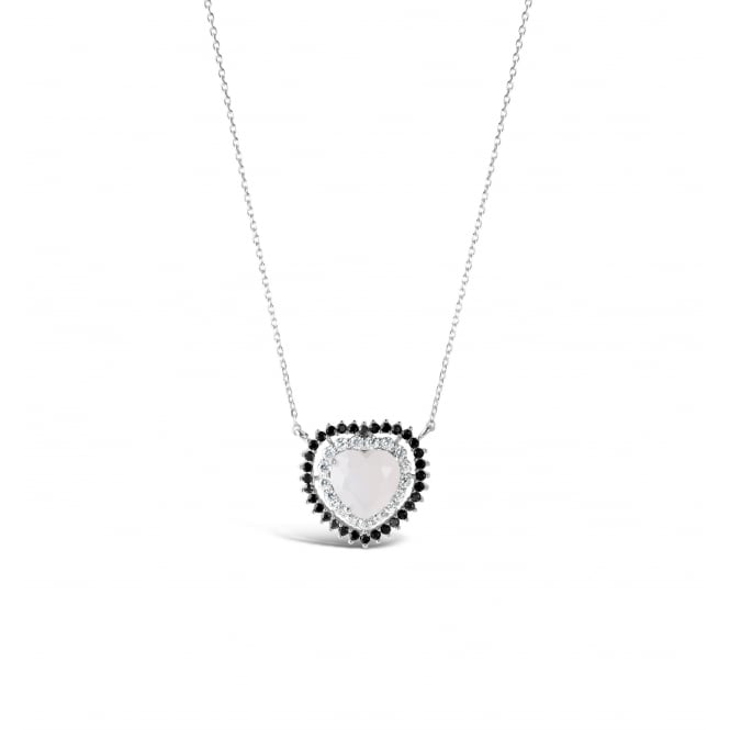 16'' Long Rhodium Plated Heart Necklace