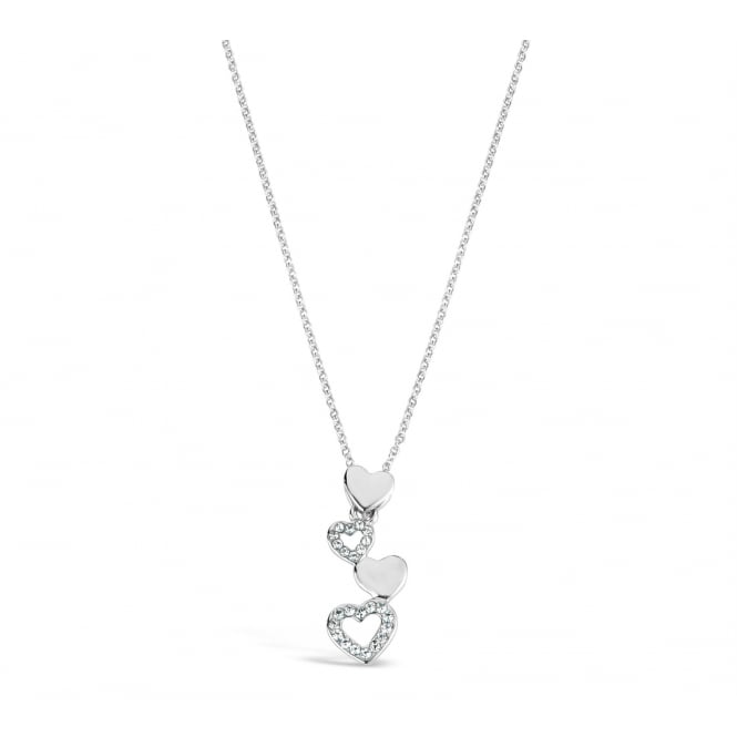 Rhodium Plated Heart Drop Necklace
