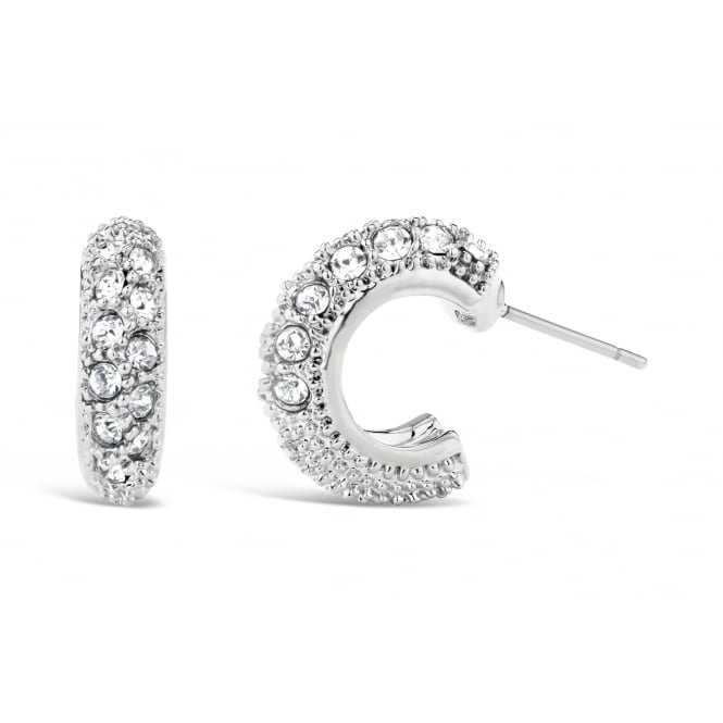 Crystal Stone Set Half Hoop Earrings