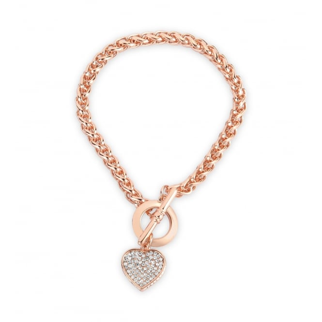 Rose Gold Plated Heart Crystal Bracelet